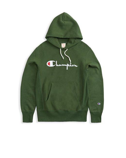 719eb1173 ... Champion - Reverse Weave Logo Script Hoodie - Forest Green for Men -  Lyst ...