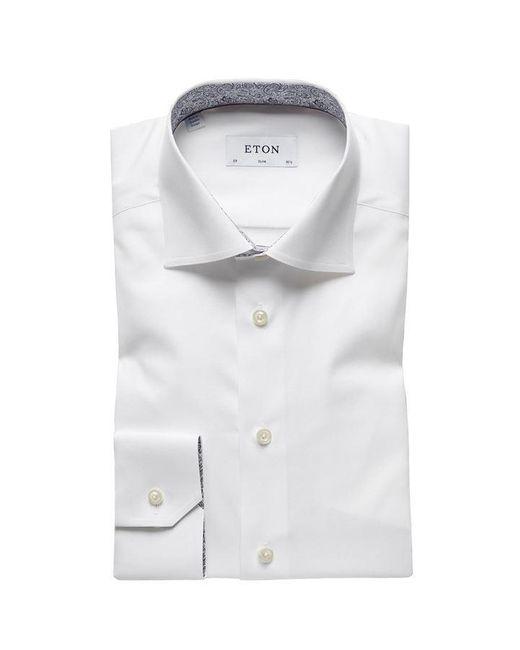 Eton of Sweden White Collar Long Sleeve Shirt for men