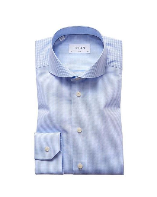 Eton of Sweden Blue Slim Fit Check Shirt for men