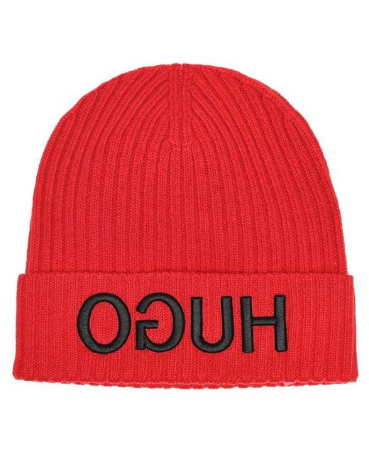 HUGO Red Turn Back Hem Reverse Logo Beanie Hat for men
