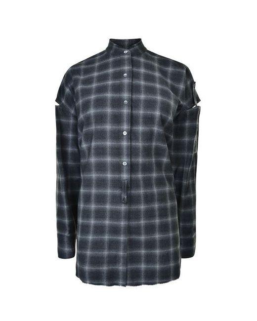 Helmut Lang Gray Open Plaid Shirt