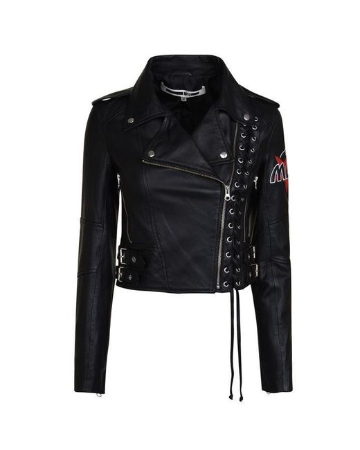 McQ Alexander McQueen Black Lace Up Leather Biker Jacket