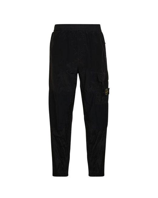 Stone Island Black Nylon Trousers for men