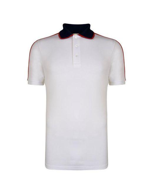 898e06ce Gucci - White Ribbon Polo Shirt for Men - Lyst ...