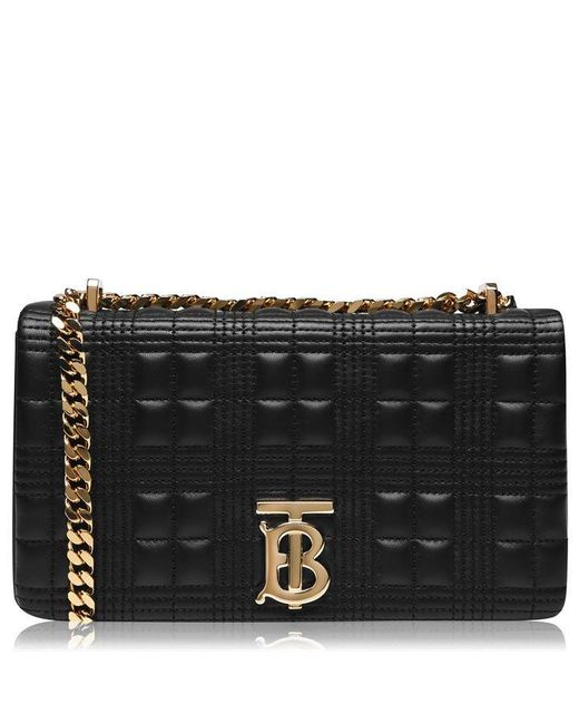 Burberry Black Small Horseferry Print Quilted Lola Check Bag