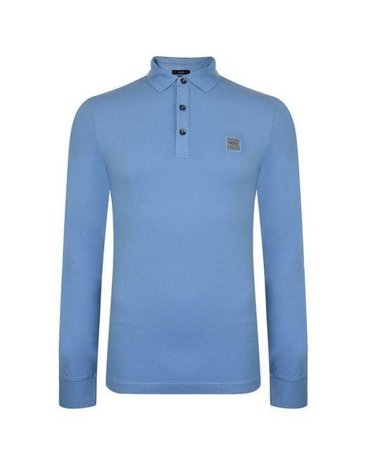 2943243e4 BOSS by Hugo Boss - Blue Passerby Long Sleeve Polo Shirt for Men - Lyst ...