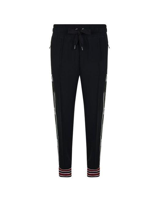 Dolce & Gabbana Black Cady Logo Stripe Jogging Bottoms for men