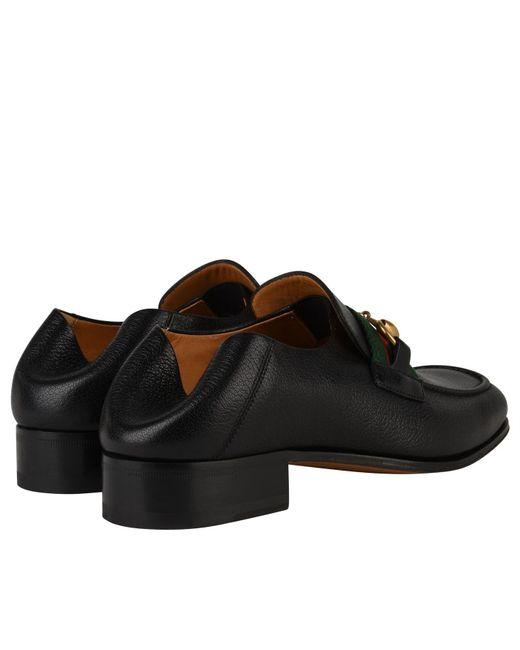cfddcf3234c ... Gucci - Black Leather Horsebit Loafer for Men - Lyst ...