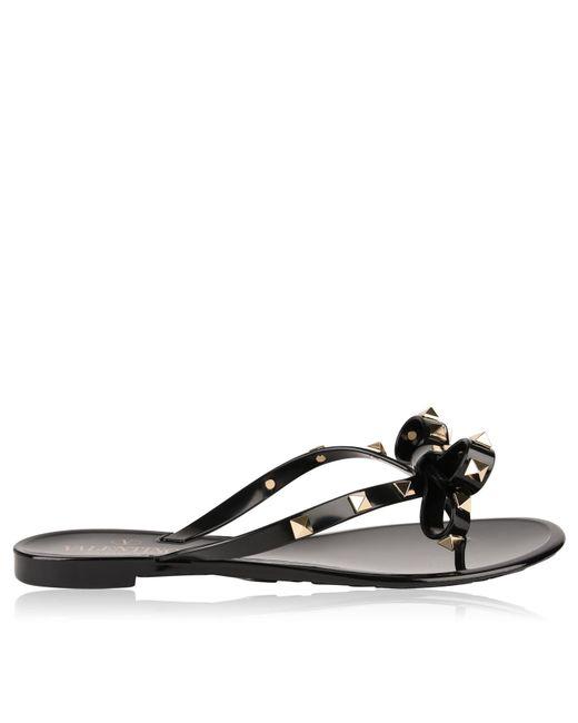 8ddfc3eeb12065 Valentino - Black Rockstud Jelly Flip Flops - Lyst ...
