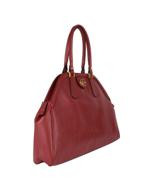 149fec20b9e5 ... Gucci - Red Re(belle) Large Top Handle Bag - Lyst ...