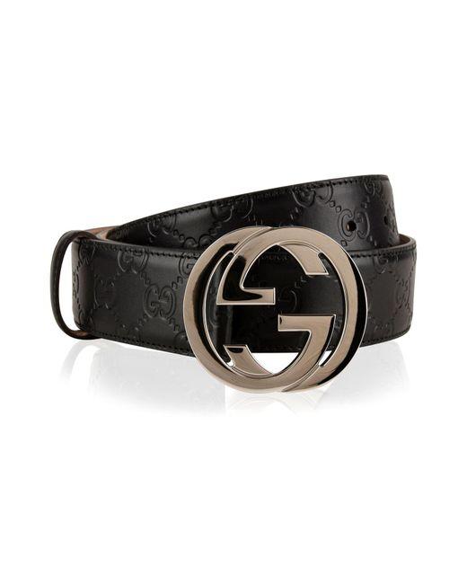 Gucci - Black Interlocked Embossed Belt for Men - Lyst