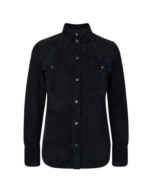 Tom Ford Blue Suede Overshirt for men