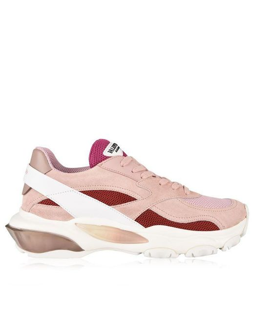 Valentino Pink Bounce Raised Sole Low Top Trainers