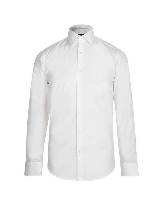 BOSS White Long Sleeve Poplin Shirt for men