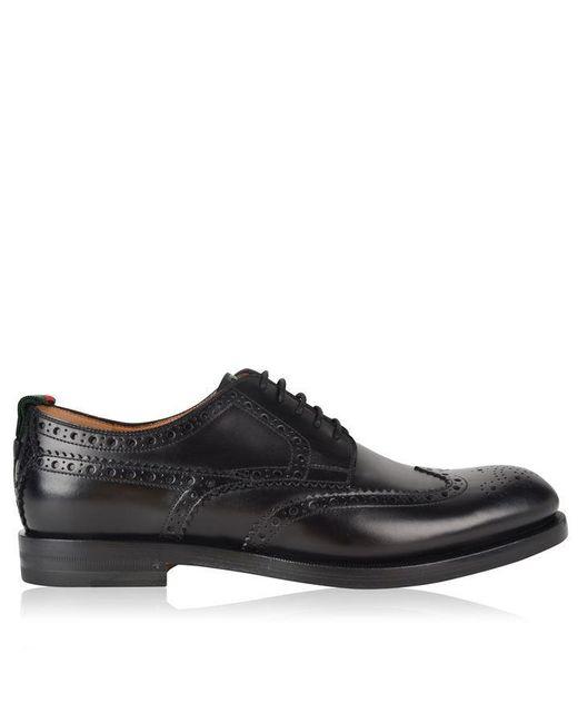Gucci Black Strand Brogue Shoes for men