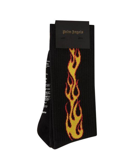 Palm Angels - Black Flame Socks for Men - Lyst