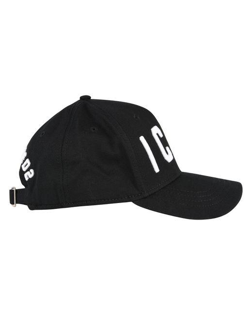 32e0fb8f24c Lyst - DSquared² Icon Cotton Baseball Cap in Black for Men - Save 42%