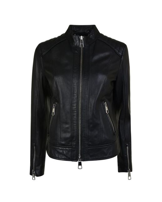 BOSS Orange - Black Biker Lambskin Nappa Leather Jacket - Lyst