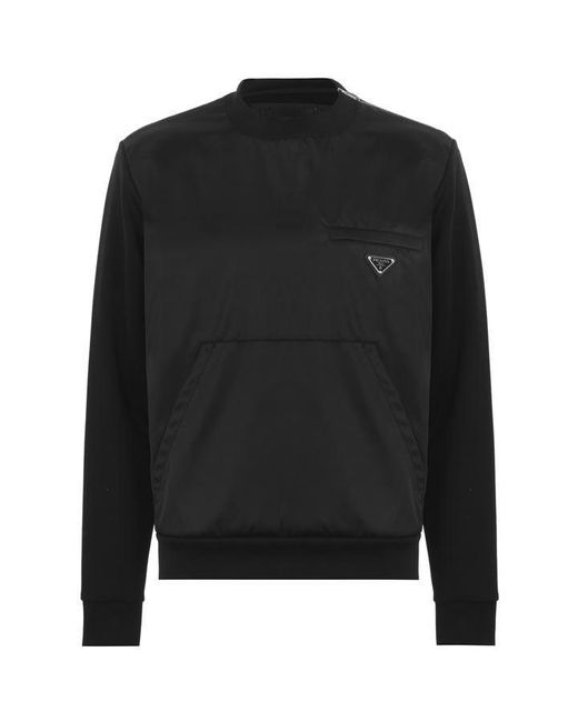 Prada Black Plate Crew Neck Sweatshirt for men