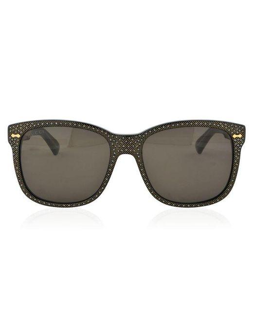 Gucci Black Gg0047s Square Frame Rhinestone Sunglasses