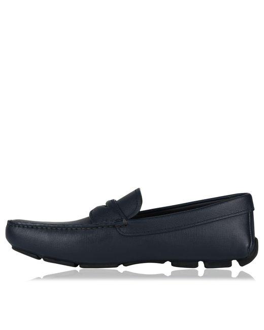 122e7e53d03 ... Prada - Blue Saffiano Leather Loafers for Men - Lyst ...