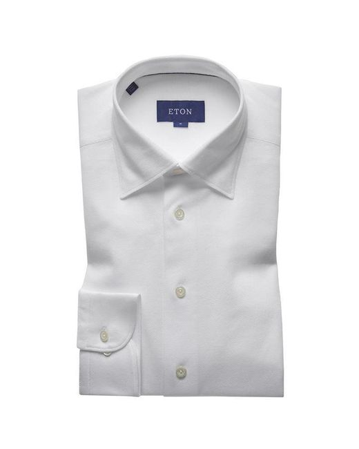 Eton of Sweden White Pique Long Sleeved Shirt for men