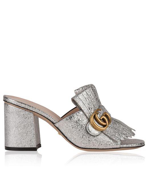 d28797712667 Gucci - Metallic Gg Heeled Mules - Lyst ...