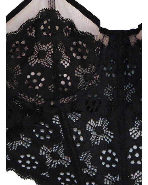 8862de2096 ... Fleur du Mal - Black Crochet Lace Longline Balconette Bra - Lyst ...