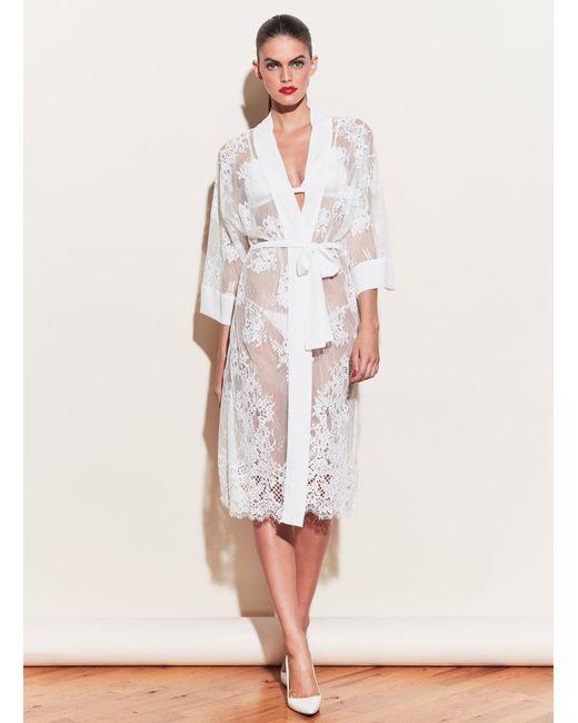 Fleur du Mal White Long Lace Robe