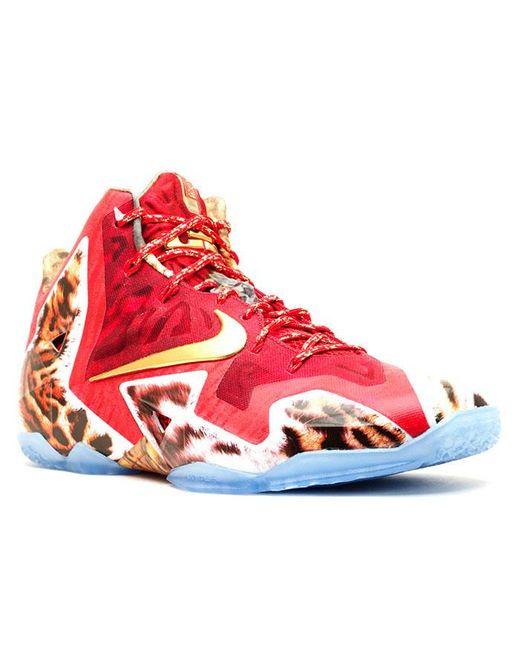 low priced bc320 8c2c6 Men's Red Lebron 11 Premium '2k14' Shoes - Size 7.5