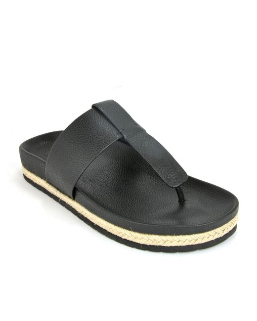 Vince - Black Leather Flat Thong - Lyst