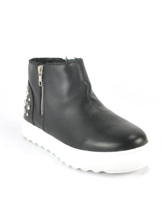 J/Slides - Black Leather Fur Hitop Sneaker for Men - Lyst