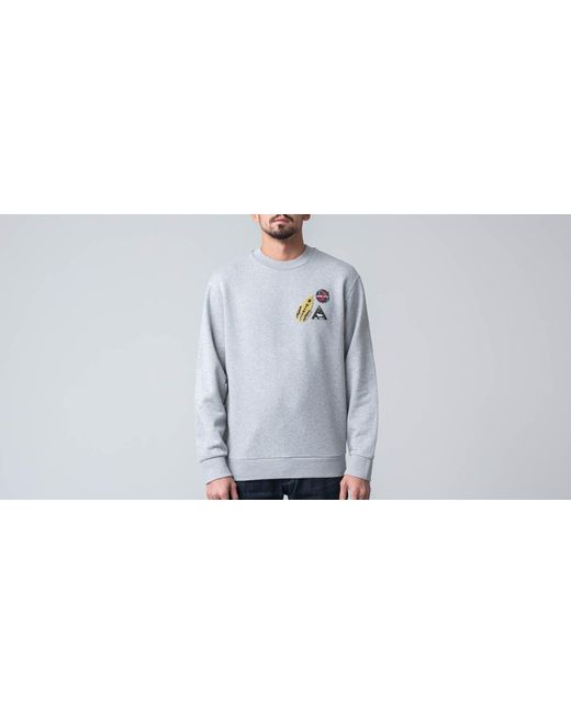 Maison Kitsuné Gray Astrounaut Patch Sweatshirt Grey Melange for men