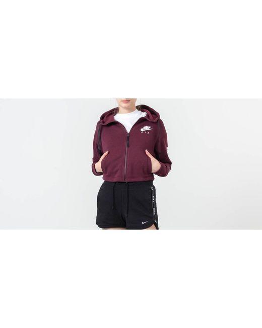 Nike Purple Sportswear Air Fleece Full Zip Hoodie Night Maroon/ White