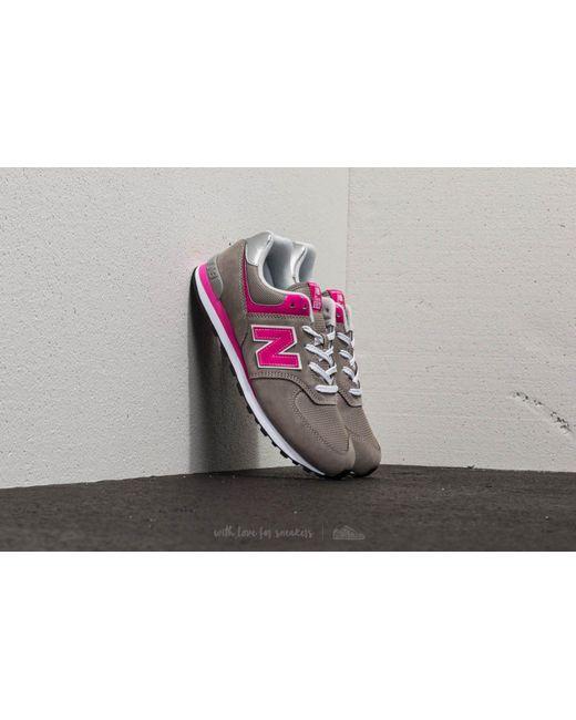 New Balance - Gray 574 Dark Grey/ Pink - Lyst