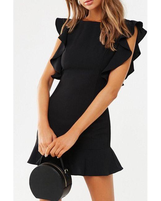 Forever 21 Flounce Bodycon Mini Dress , Black