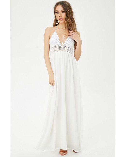 4c2899a1630 Forever 21 - White Crochet Halter Maxi Dress - Lyst ...