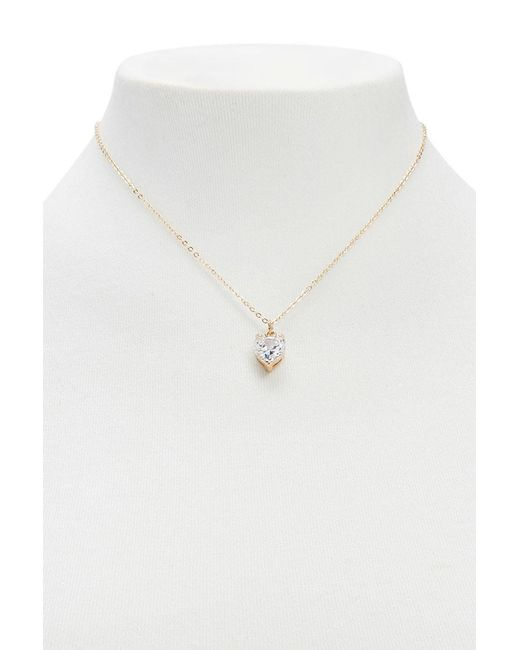 Forever 21 | Metallic Faux Gem Heart Necklace | Lyst