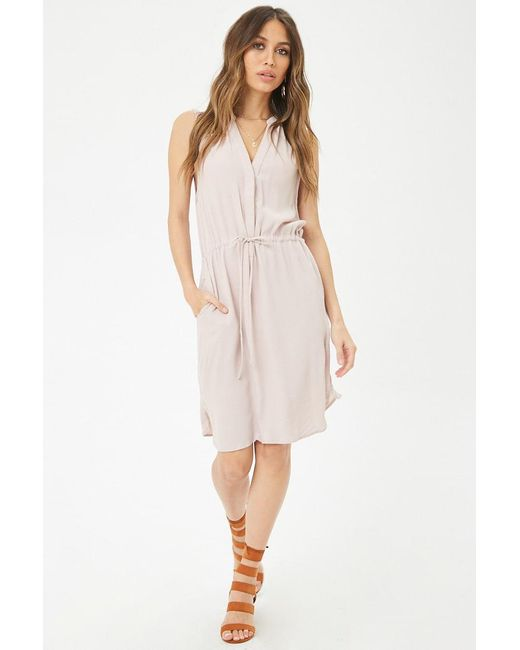Forever 21 - Purple Drawstring Split-neck Dress - Lyst