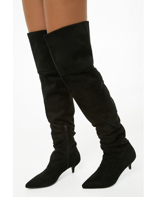 Forever 21 - Black Women's Faux Suede Over-the-knee Boots - Lyst