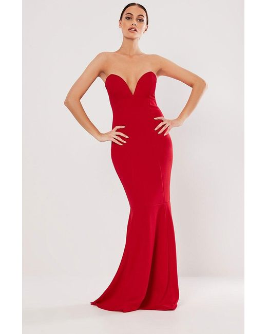Missguided - Red Strapless Mermaid Gown At - Lyst