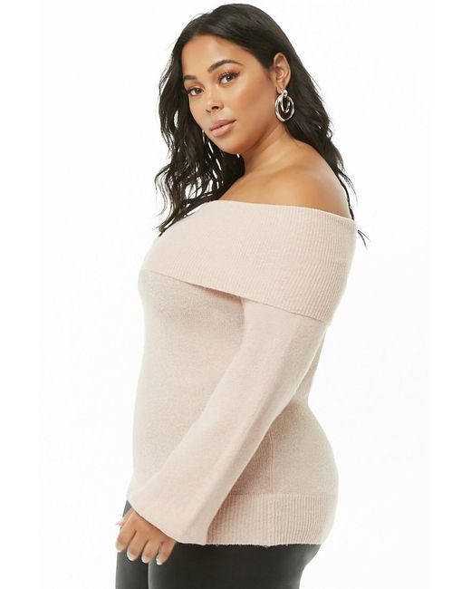 d0e8cb79c8190c ... Forever 21 - Pink Plus Size Foldover Off-the-shoulder Jumper Sweater -  Lyst ...