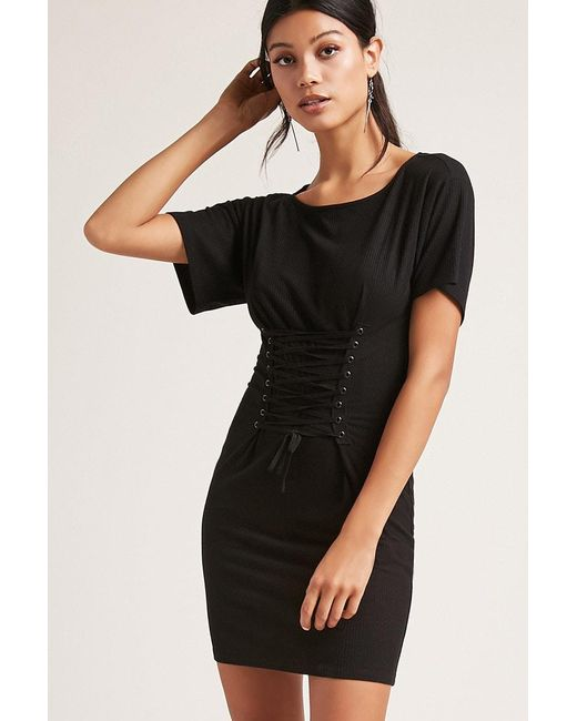 Forever 21 | Black Lace-up Bodycon Dress | Lyst