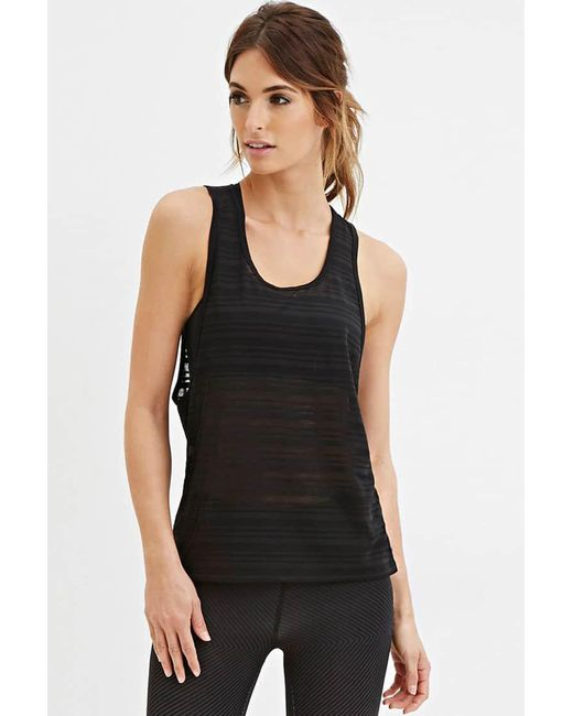 Forever 21 | Black Active Shadow Stripe Muscle Tee | Lyst