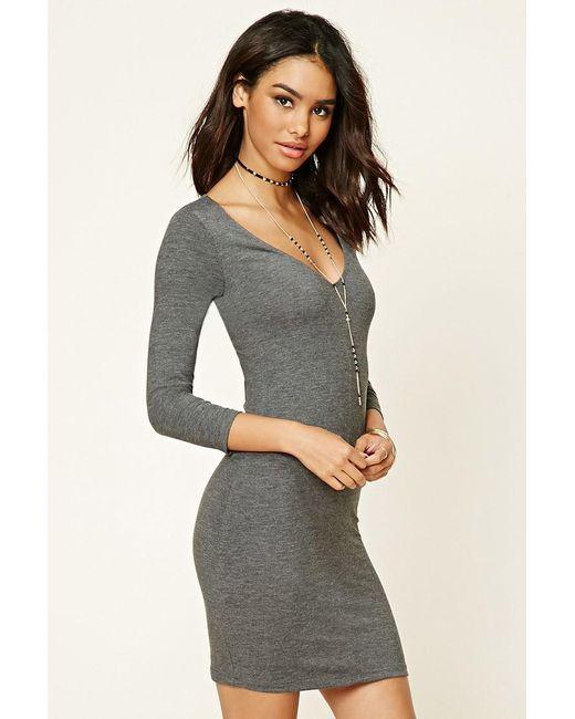 Forever 21 | Gray V-neck Bodycon Dress | Lyst