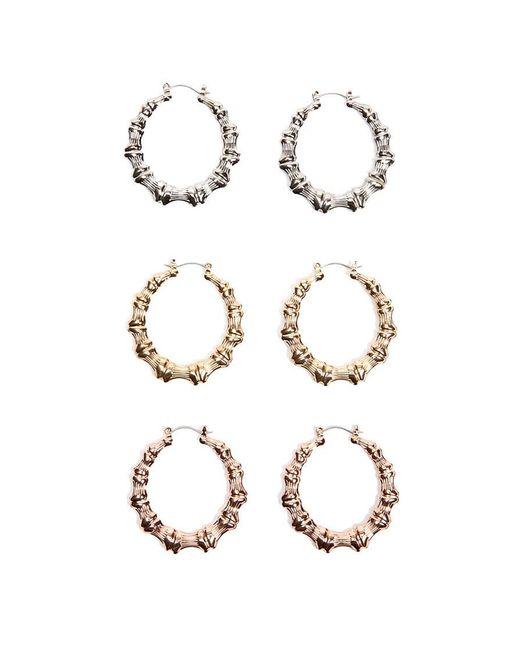 Forever 21 bamboo inspired hoop earrings set in metallic for Forever 21 jewelry earrings