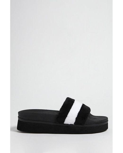 ca463019a66 Forever 21 - Black Striped Fleece Platform Slides - Lyst ...