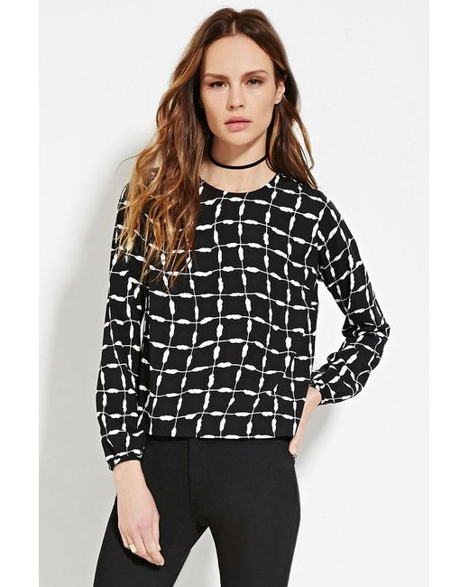 Forever 21 | Black Contemporary Abstract Print Top | Lyst