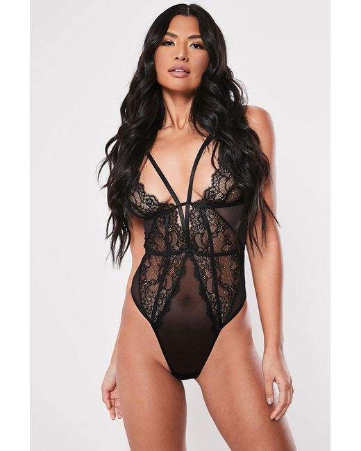 Missguided - Black Strappy Lace Teddy At - Lyst