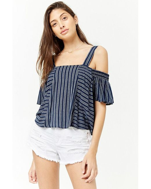 9a1c0b4625f3a2 Forever 21 - Blue Striped Open-shoulder Top - Lyst ...